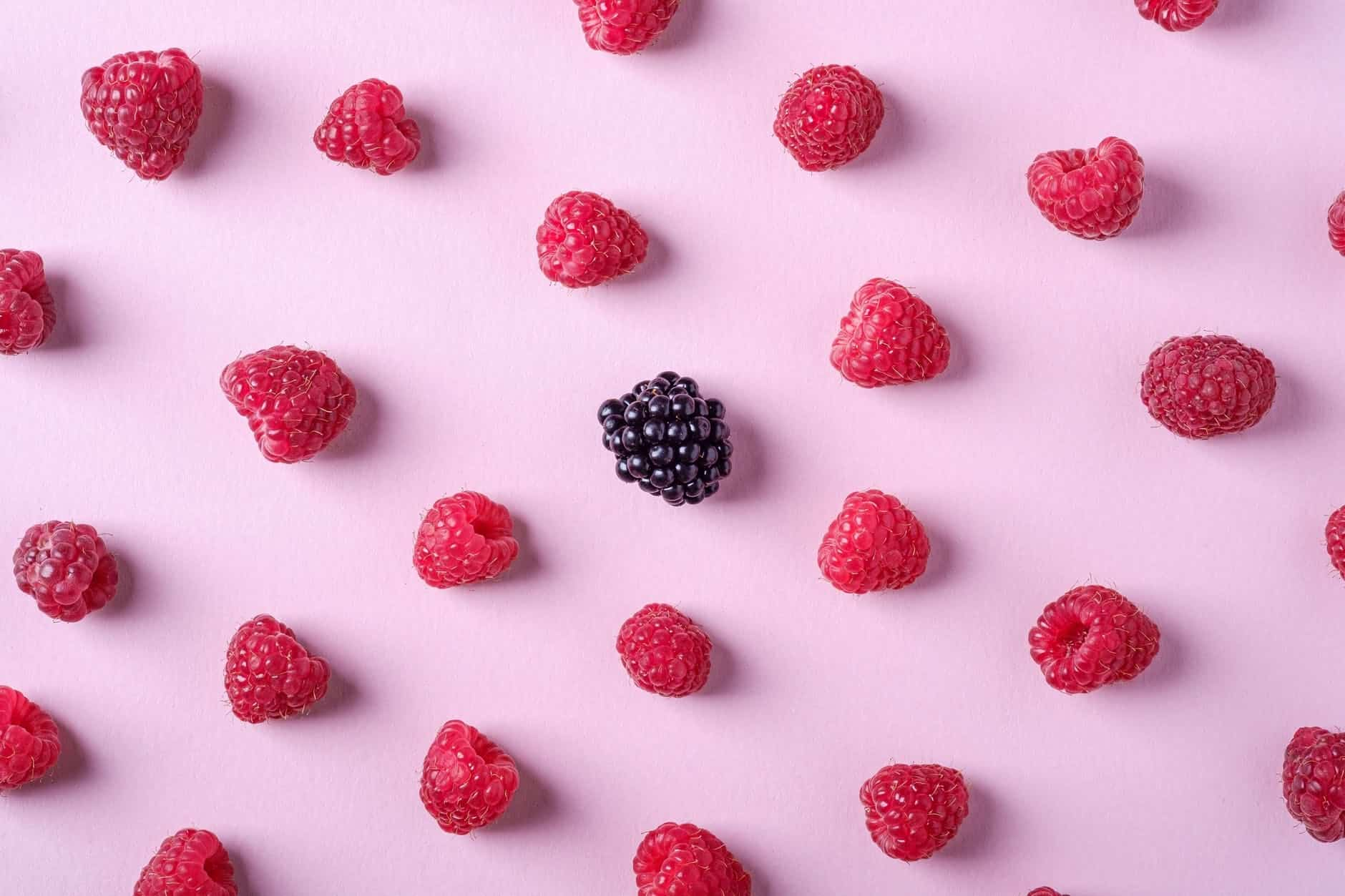 photo of raspberries and blackberry on pink background